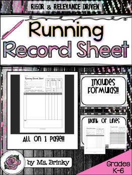 Running Record Sheet Template Form