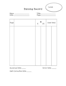 Running Record Template - Simplified Version!