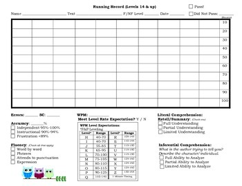 Running Record Template: Use with ANY book! REVISED
