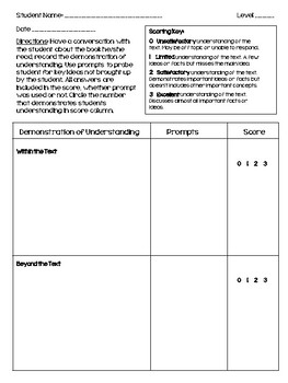 Running Record Template and Reading Level Algorithms Freebie