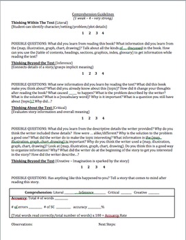 Running Record Template - (editable with fiction and nonfiction questions)