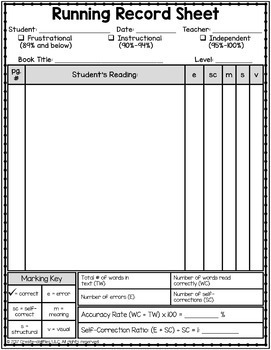 Running Record Tracking Forms EDITABLE