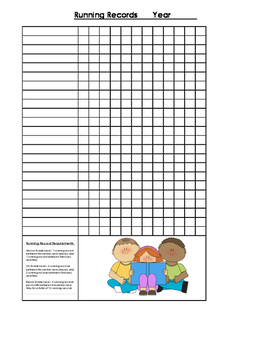 Running Record collection sheet