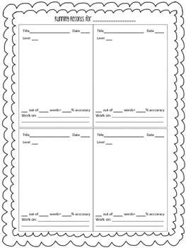 Running Records Form FREEBIE