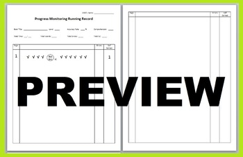 Running Records Progress Monitoring Blank Pages Sheets Template