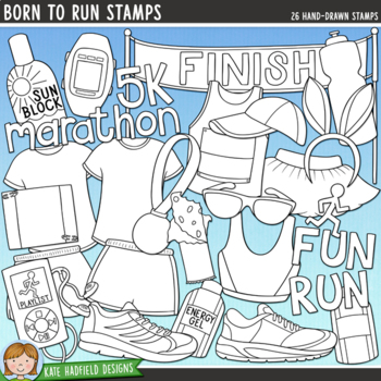 """Running and Fitness Clip Art: """"Born to Run"""""""
