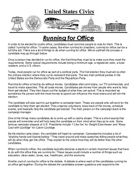 Running for Office Article and Assignment