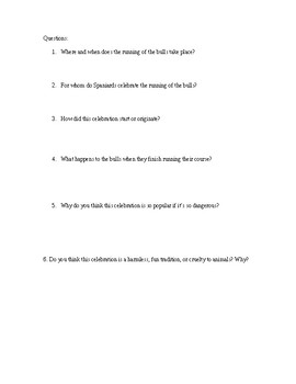 Running of the Bulls Reading and Questions