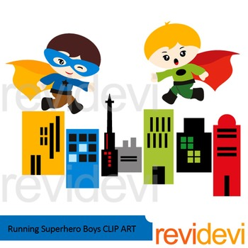 Running superhero boys clip art
