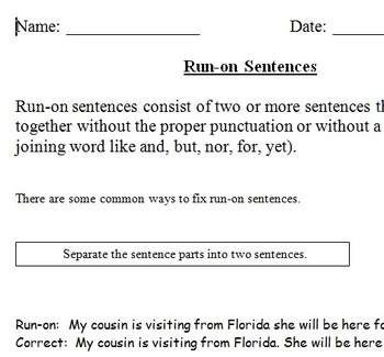 Runons explanation and worksheet