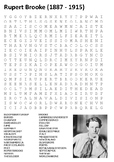 Rupert Brooke World War One Poetry Word Search