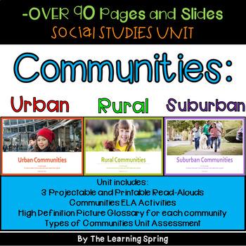 Types of Communities Social Studies Unit: Urban, Rural, Suburban