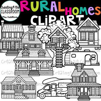 Rural Homes Clip Art  {Homes Clipart}