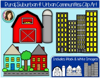 Rural, Suburban & Urban Community Buildings Clip Art