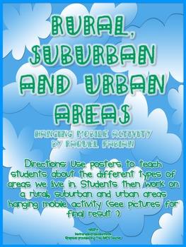Rural, Suburban and Urban Areas: Social Studies Hanging Mobile Activity