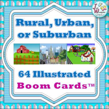 Rural Urban and Suburban Boom Cards / Digital Interactive Task Cards