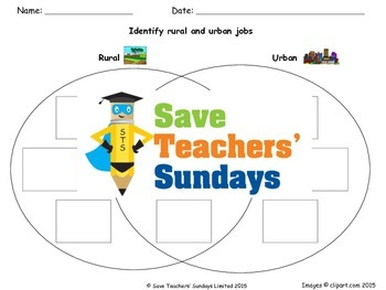 Rural and urban / Town and country activities Lesson plan and Worksheets