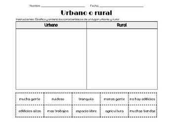 Rural o urbano - (Rural or urban sort in spanish)