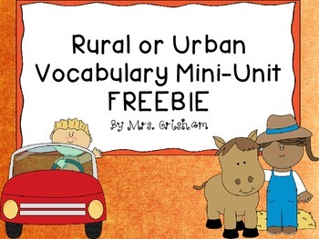 Rural or Urban Vocabulary Mini-Unit FREEBIE