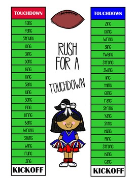Rush for a Touchdown - ing, ang, ong, ung