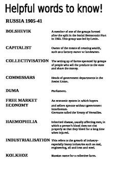Russia 1905-1941 Key Words