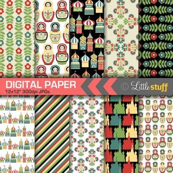 Russia Digital Paper Pack, Ukrainian Digital Backgrounds