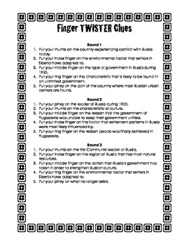 Russia Finger Twister Board Clues