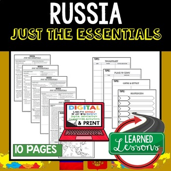 Russia Geography Outline Notes JUST THE ESSENTIALS Unit Review