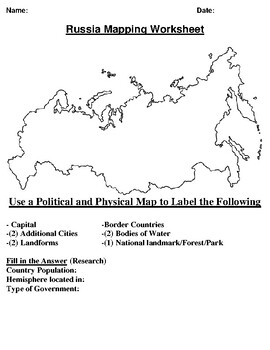 Russia  Mapping Worksheet w/ Middle East Word Search