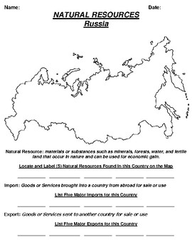 Russia Natural Resource Worksheet and Word search
