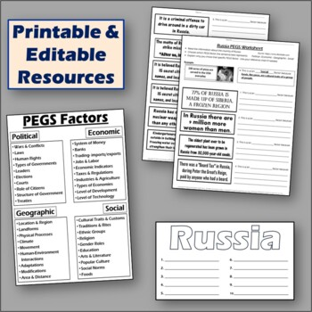 Russia - P.E.G.S. ~ Practice Lesson & Student Worksheet ~