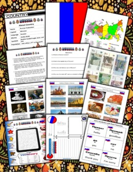 Russia Themed Activity Set / Worksheets + Flashcards