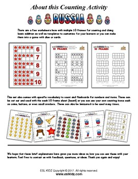 Russia Themed Number / Counting Activity Set