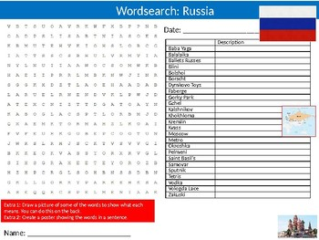 Russia Wordsearch Puzzle Sheet Keywords Country Geography