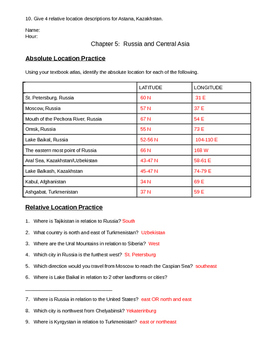 Russia and Central Asia Absolute and Relative Location Practice