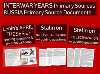 Russia primary source 3pack: Lenin April Theses Stalin on Industry & Agriculture