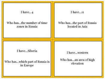 Russia's Physical Geography Review Game: I Have Who Has