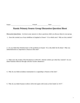 Russian Bloody Sunday Primary Source Acitivity