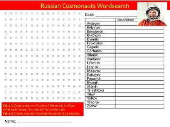 Russian Cosmonauts Wordsearch Sheet Starter Activity Keywords Science Physcis