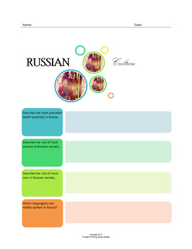 Russian Culture:  A Fillable Fact-Finding Sheet
