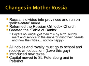 Russian Expansion and Westernization