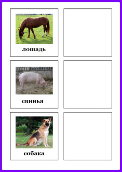 Russian Farm Animals and Their Babies Matching Activity - Животные и их дети