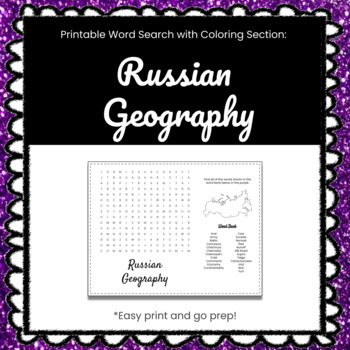 Russian Geography Printable Word Search Puzzle