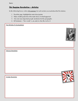 Russian Revolution Article and Organizer