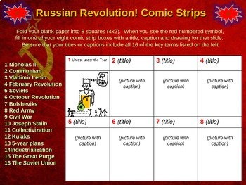 Russian Revolution Comic Strip Activity:  fun engaging informative 21-slide PPT
