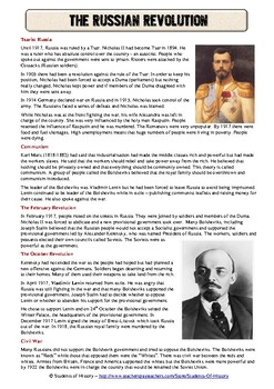 russian revolution common core reading worksheet students history