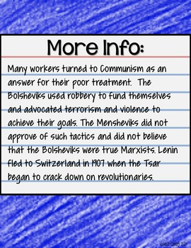 Russian Revolution Google Classroom or One Drive Interactive Notes and Analysis