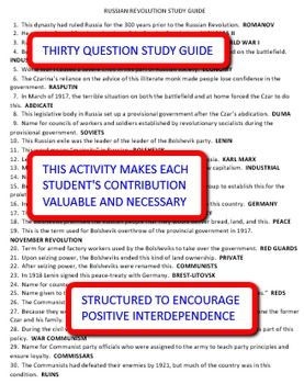 Russian Revolution: Interdependent Answer Sheets Activity
