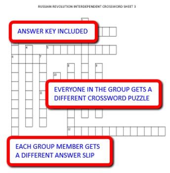 Russian Revolution: Interdependent Crossword Puzzles Activity