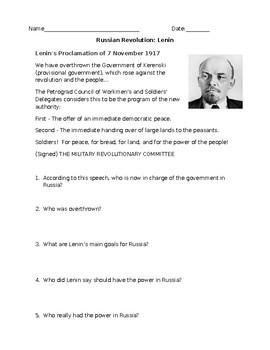 Russian Revolution Lenin's Speech Adapted Worksheet with Answer Key